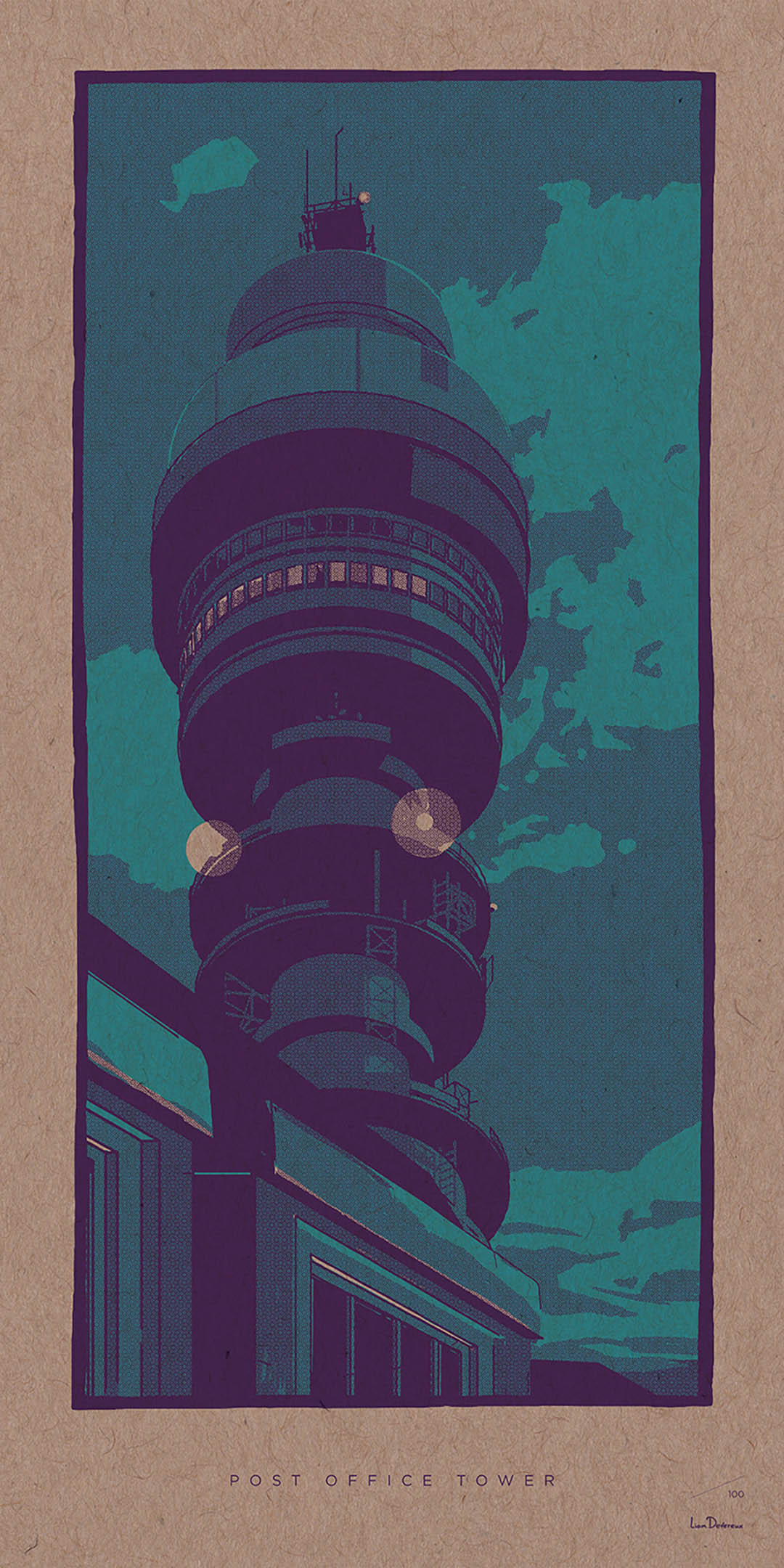 Post Office Tower - Liam Devereux | 30x60mm Giclee print on 450mic recycled Kraft card